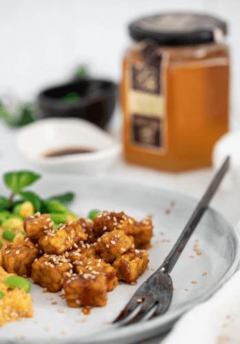 Caramelised Raw honey spiced tofu
