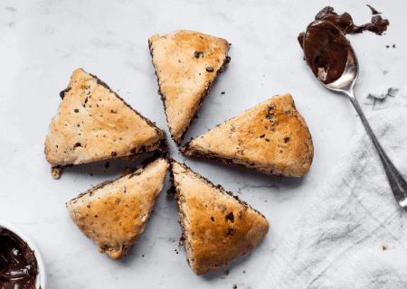Chocolate Hazelnut and Raw Honey Scones